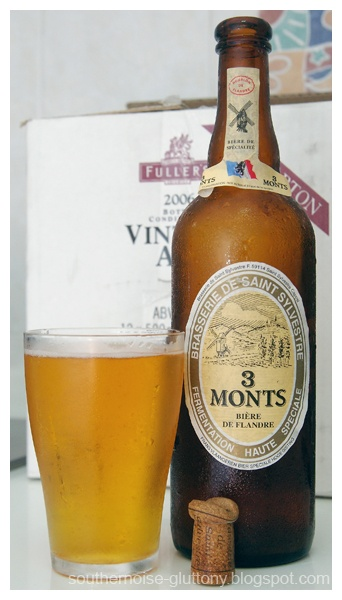 Trois Monts. One of the toughest beers ever to get into (literally!) - metal bracket, plastic seal and pressurised cork. It's complex, sippable and above all, moorish. Certainly goes down far too easily for its strength.