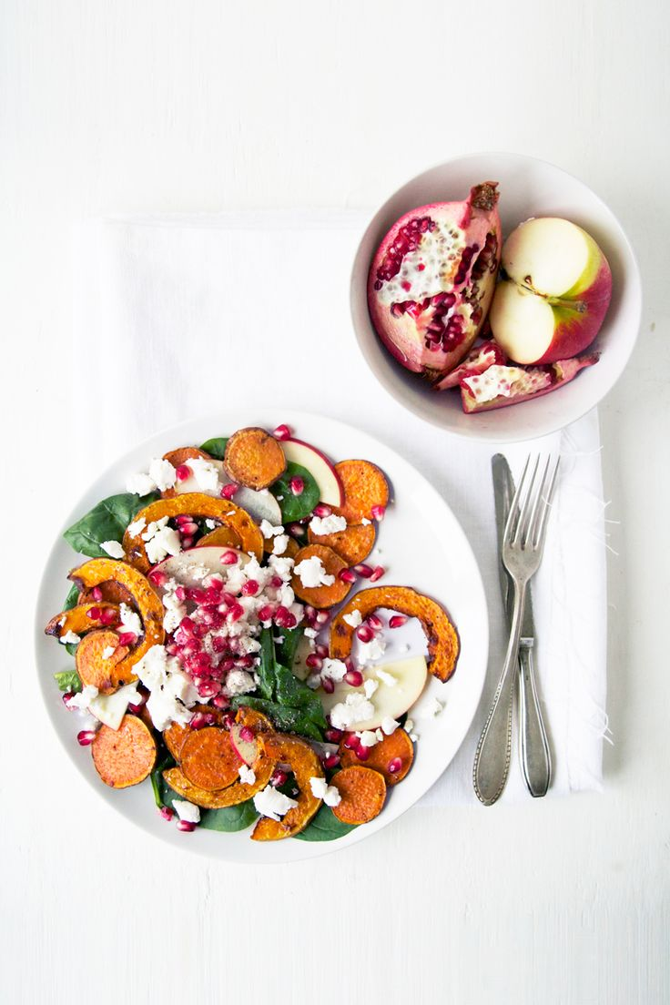 Autumn salad with sweet potato, pumpkin, & goat cheese. Who wants some? #pumpkin #pomegranate #fall