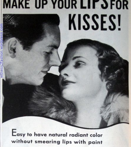 """""""Make up your lips for kisses!"""" Tangee lipstick ad, 1934"""