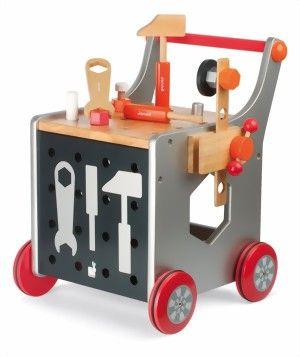 """Janod 2 in 1 Kinderwerkbank Trolley Lauflernwagen Holz Neu bei MiniMaeuse.de kaufen - Silvia Neumann """"MiniMaeuse"""" Babyausstattung und Spielzeug"""