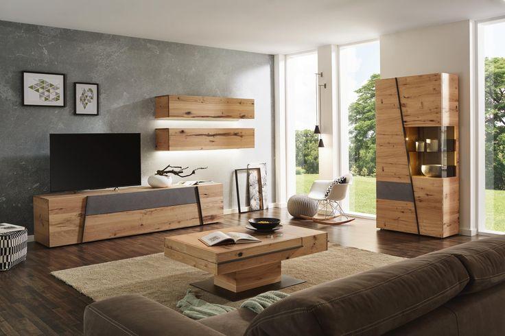 Wohnwand in grau, naturfarben von VOGLAUER