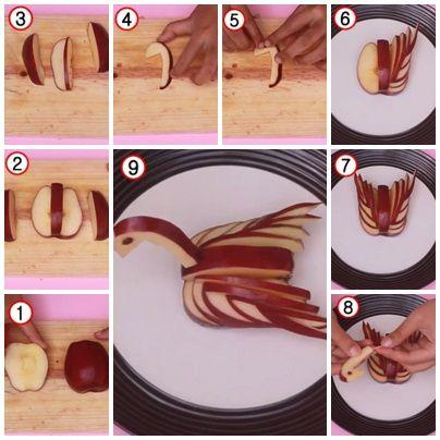Cara Membuat Garnish Dari Buah Apel (Bentuk Angsa)