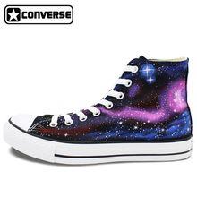Zapatillas converse all star originales pintados a mano zapatos galaxy espacio personalizado diseño del top del alto de las mujeres zapatos de skate para hombre regalos(China (Mainland))