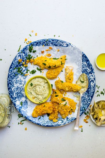 Artichoke and Lemon Mayonnaise with Chicken Dippers