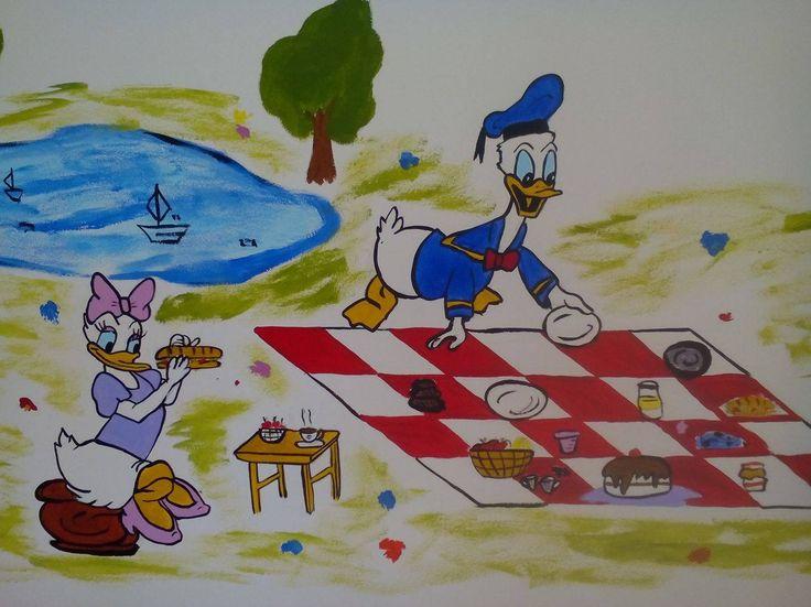 Donald & Daisy at picnic - wall painting #donald #daisy #duck #picnic