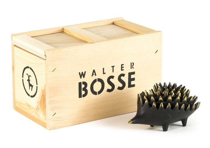 Walter Bosse Bronze Hedgehog Ashtray and Wooden Box