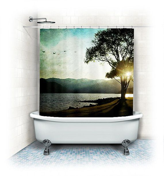 "Landscape Fabric Shower Curtain ""Casting shadows"" lake,beach,aqua home decor,blue,turquoise,trees,sunset,nature,birds"