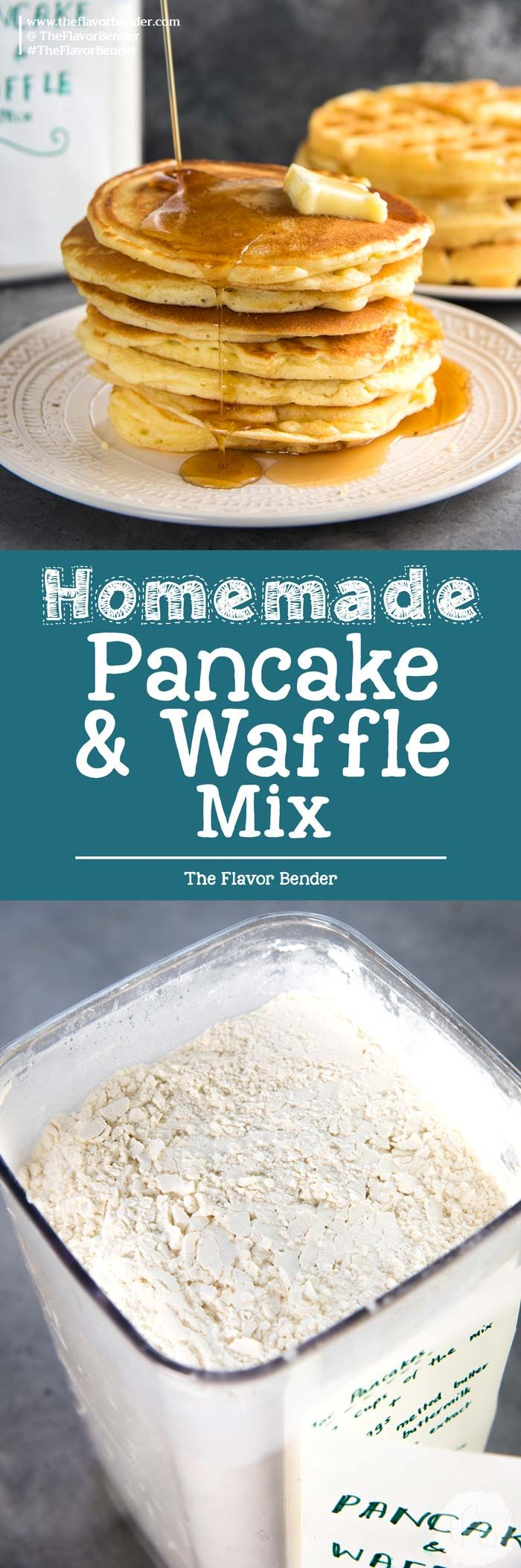 Homemade Pancake Mix / Waffle Mix - The best pancake or waffle mix from scratch that makes fluffy, light pancakes or crispy, light waffles! Far better than store-bought instant pancake mixes. Easy and fool proof, you can have pancakes any day! via @theflavorbender