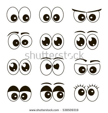 High quality original trendy vector set of cartoon eyes