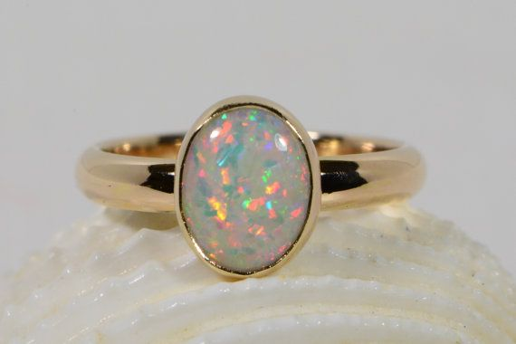 Solid Gold Ring Opal Ring Handmade  Opal Jewelry by turquoisegems, $600.00