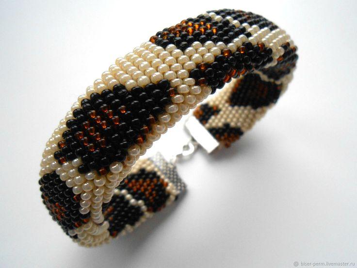 Купить Широкий браслет из бисера в интернет магазине на Ярмарке Мастеров