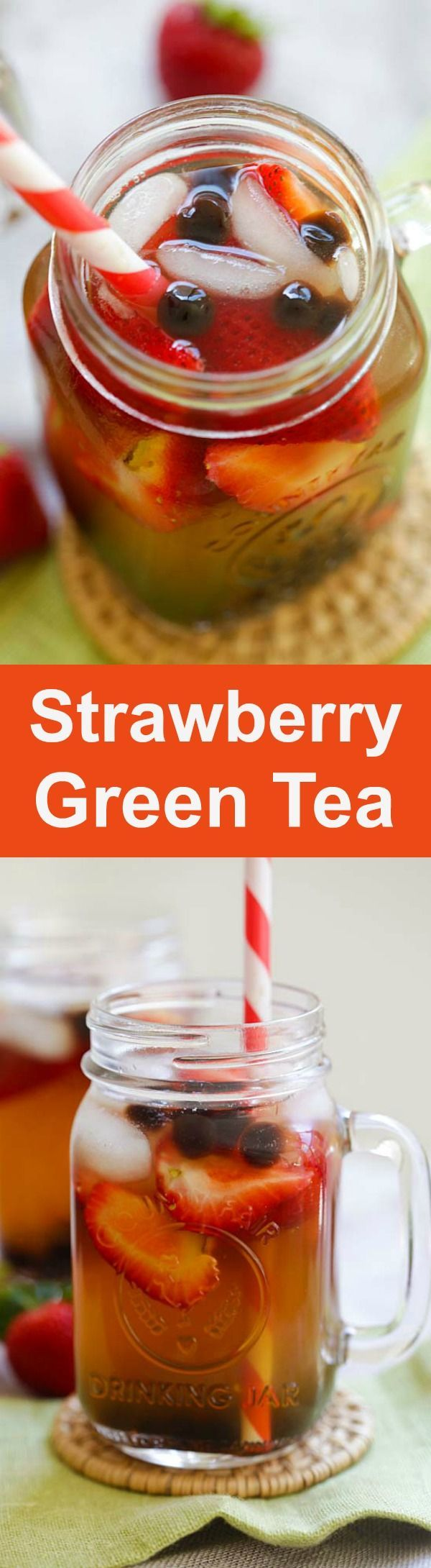 Strawberry Green Tea - healthy and refreshing green tea with strawberry and tapioca pearl boba. Perfect for summer | http://rasamalaysia.com
