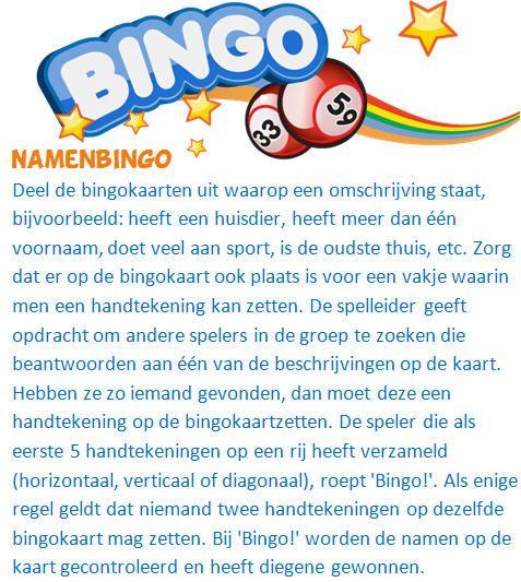 Namenbingo, een variant op de reguliere nummerbingo waarbij niet stilgezeten kan worden.