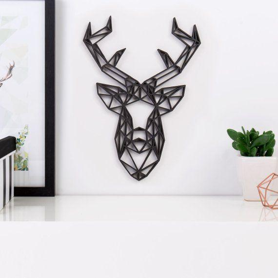 kleinlaut origami 3d motiv hirschkopf 100 made in germany design tattoo wanddekoration bilder wohnzimmer für aussenbereich