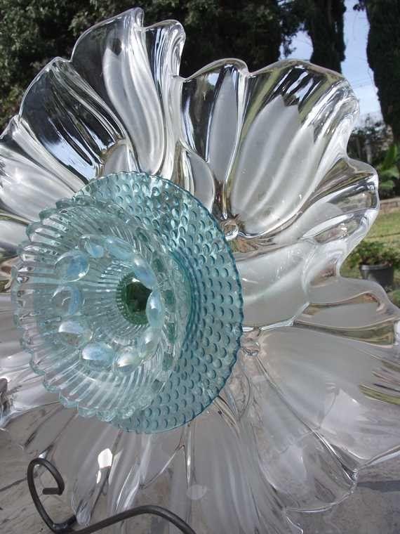 garden glass plate flower