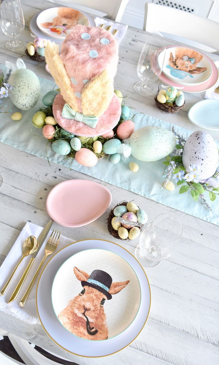Project Nursery - Pastel Easter Brunch Tablescape Modern Easter Place Settings