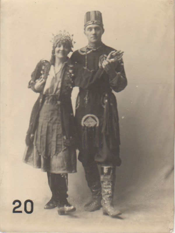 GSAA/P/1/1136 - Dorothy Carleton Smyth in fancy dress with Alec Milne. Dorothy Smyth also contributed to the GSA Needlework Exhibition. In 1933 she was appointed the first woman director of the GSA, but unfortunately died before she could take up the post.