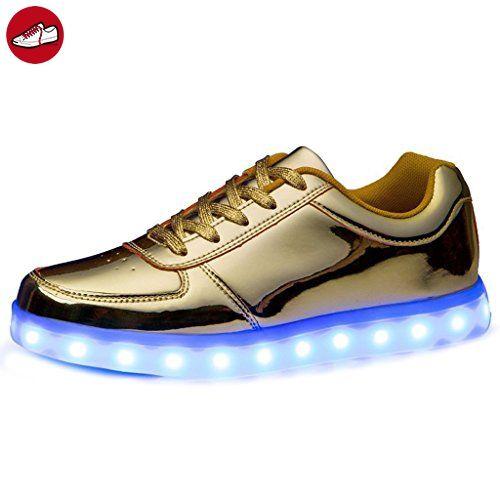 (Present:kleines Handtuch)Gold EU 44, Glow Herren Unisex Sportschuhe leuchten (Größe Luminous Flashing mode USB-Lade Schuhe JUNGLEST® LED Dame (*Partner-Link)