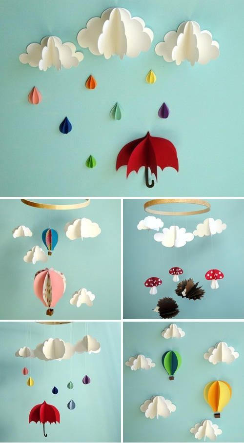 Cloud and hot air balloon mobiles