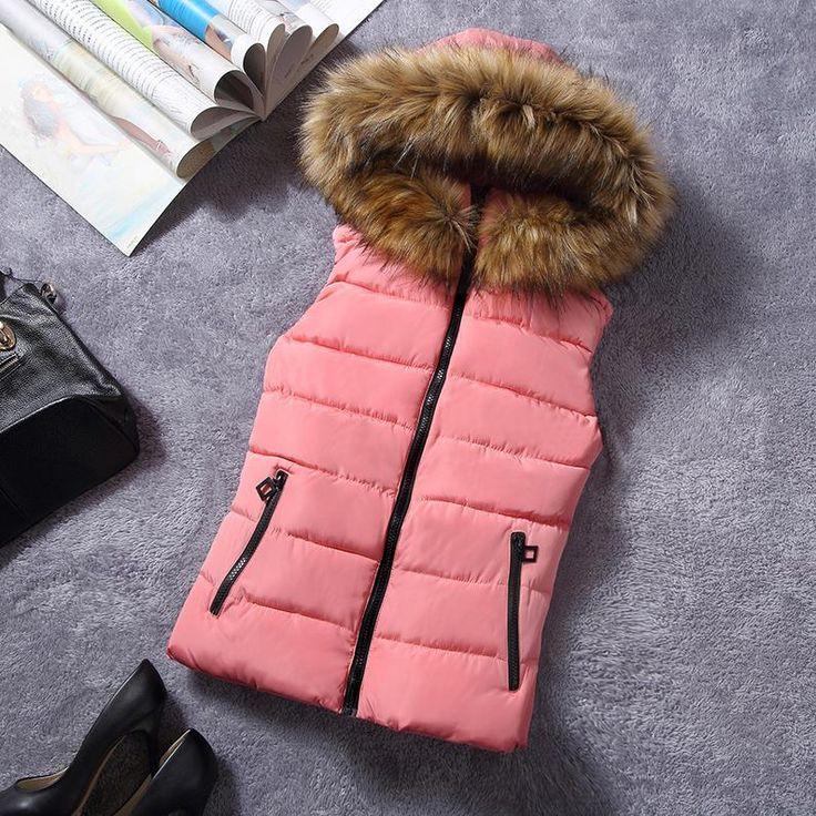 Novo para o inverno gola de pele colete para baixo Coringa colete de algodão com capuz vest vestidos das mulheres