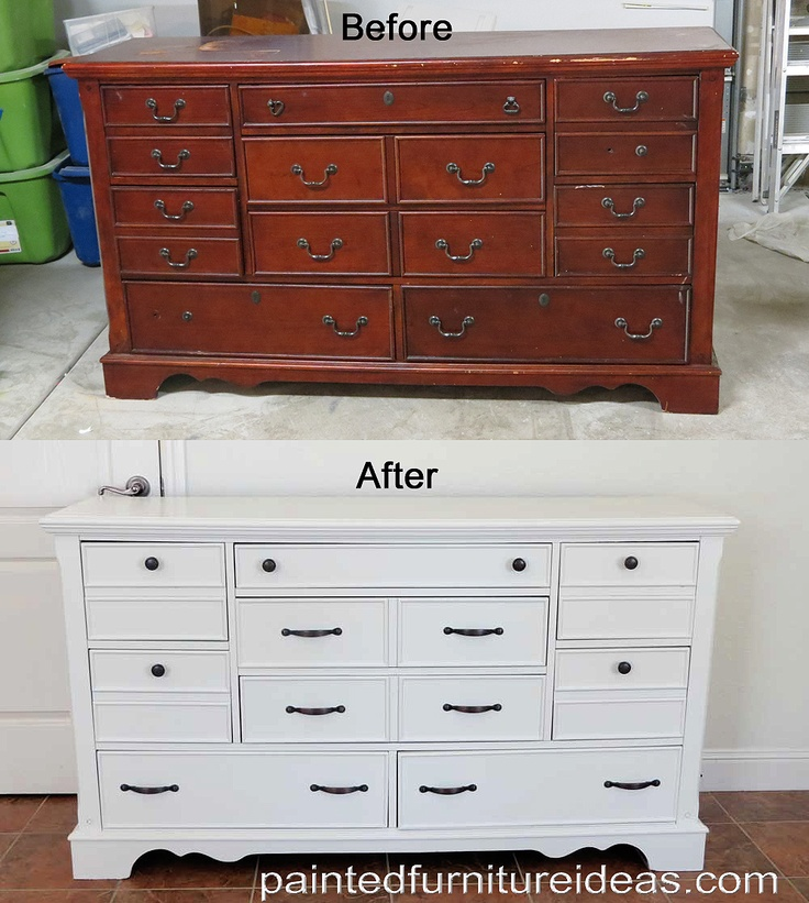 Dresser Makeover in white with black hardware.
