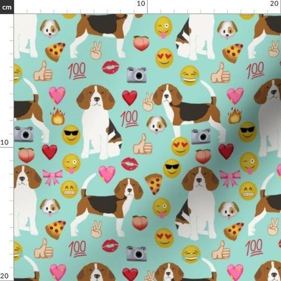 Beagle Fabric Beagle Emoji Cute Funny Dog Breed Fabric Mint By