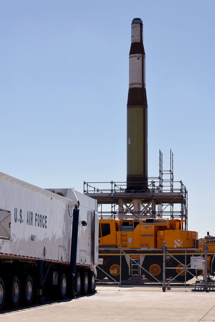 An inert Minuteman II Intercontinental Ballistic Missile stands erect on Test Pad 01, during a training operation, July 22, 2016, Vandenberg Air Force Base,