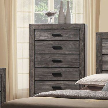 Dressed in a distressed gray oak finish, the handsome Raven bedroom collection adds warmth and style to any room. Featuring clean lines and modern black finished hardware, this transitional set is sure to impress. Enjoy its stylish wood panel headboard, accented by wood grain and distressing for a warm look. Matching case pieces with spacious storage drawers complete the look of this modern farmhouse inspired collection.