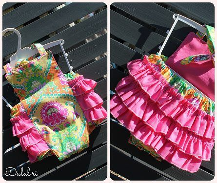 Ruffled romper perfect for your little girl . Rufffles across bottom , halter tie up and snap crotch. Pattern by Tie Dye diva