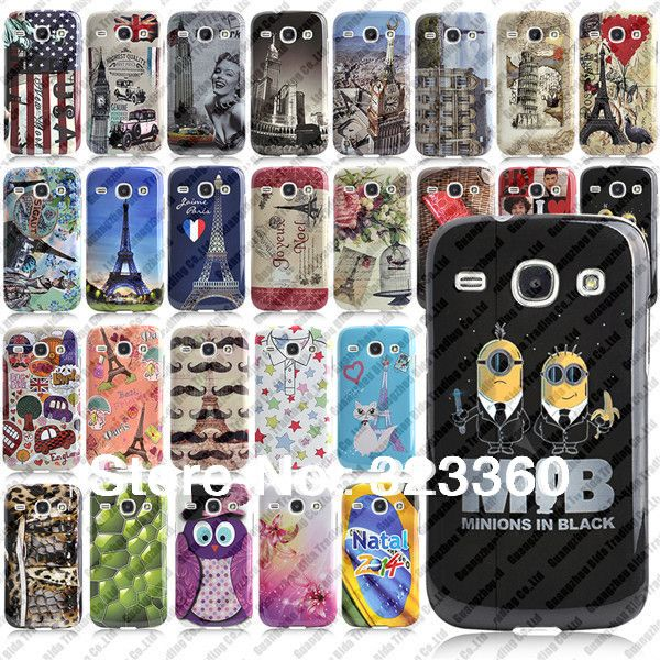 Stylish Printed TPU Plastic Back Case For Samsung Galaxy Core i8262 With Free Screen Protector