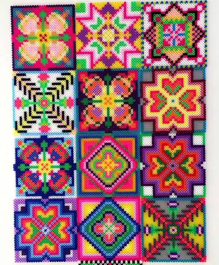 "Perler bead tiles by psimadethisjo   LAV ""FLISE 4 KANTER "" AF PERLER TIL VÆG DEKORATION ELLER TIL NY BORDPLADE MED GLAS OVEN PÅ"