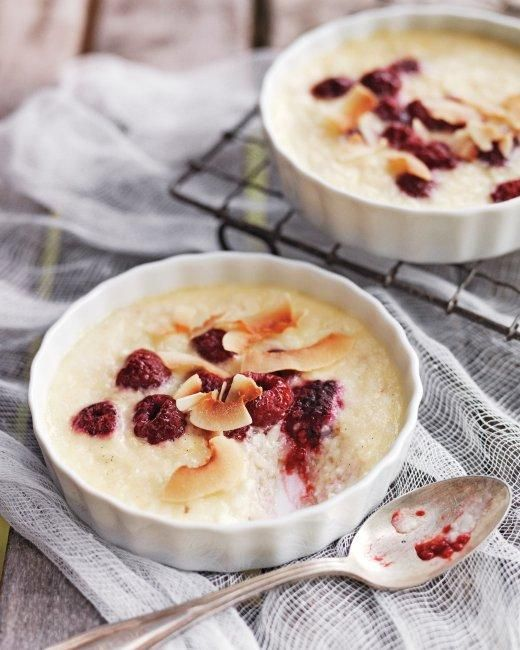 Coconut Rice Puddings with Raspberries Recipe- Will try this with sub of almond milk and replace eggs with combo of tofu, Ener- g and chia seeds. Use coconut sugar.