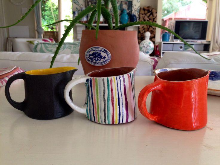Codevilla Ceramics. Three In a row jugs.  Potters Market Rondebosch 22 November.