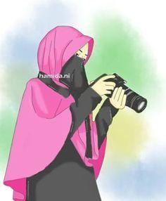 Gambar Kartun Muslimah Bercadar Fotografer Kartun In 2019 Anime