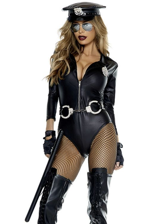 You're likely to cause some unruly behavior this Halloween when you suit up in our Do Not Cross 4-piece sexy cop costume. The faux leather bodysuit comes equipped with glistening badge and naughty acc