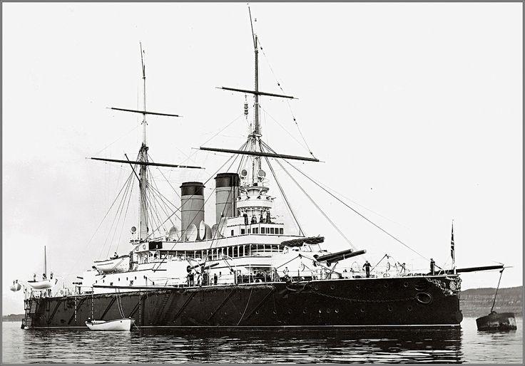 Vintage photographs of battleships, battlecruisers and cruisers.: Imperial Russian Navy predreadnought battleship Rotislav in 1901.