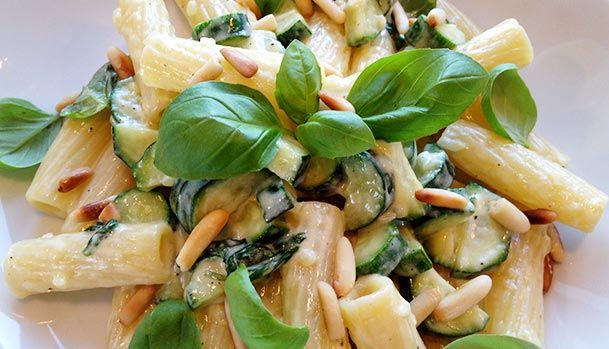 Creamy Pasta with Zucchini and Pine Nuts.