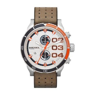 Diesel Men's Chronograph Double Down Tan Perforated Leather Strap Watch -  Watches - Jewelry & Watches - Macy's
