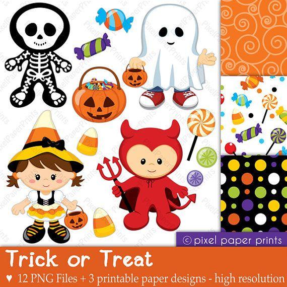 Halloween clip art and digital paper set by pixelpaperprints, $6.00