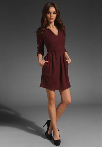 TIBI 3/4 Sleeve Dress in Dark Sienna
