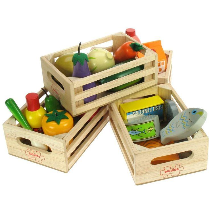 Set dřevěných zdravých potravin ve čtyřech krabičkách alt=