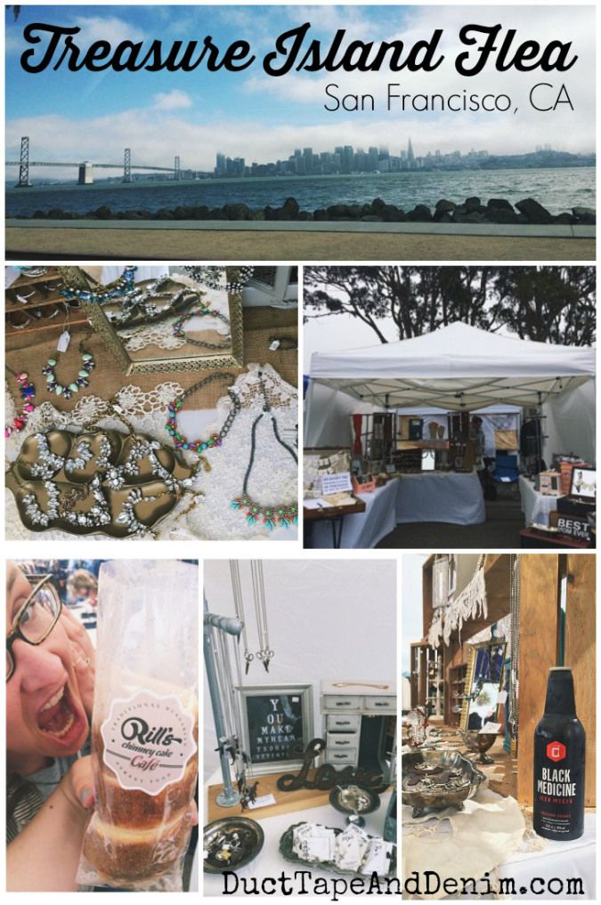 Treasure Island Flea market, last weekend of every month (except December). Lots of vintage and new home decor, furniture, clothes, live plants, food, and music. One of the best flea markets in the Bay Area! San Francisco, California | DuctTapeAndDenim.com