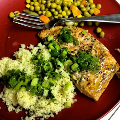 ... salmon, couscous, and cilantro--Lent food. Good, needed more salmon
