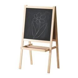IKEA - MÅLA, Easel, softwood/white,  , , Your child can use it for different purposes. The easel has a whiteboard on one side and a blackboard on the other.Can be folded to save space when not in use.