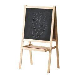 IKEA - MÅLA, Cavalete, madeira conífera/branco,  , , Os seus filhos podem usar o cavalete para várias atividades já que tem um quadro branco de um lado  e um quadro de ardósia do outro.É dobrável e fácil de arrumar quando não está a uso.