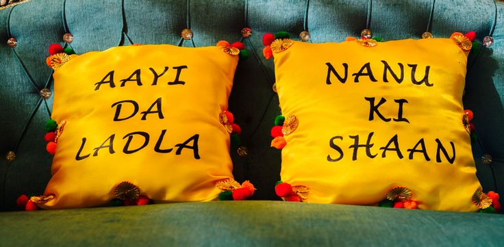 Mehendi decor  Customised cushions  for bride and groom.