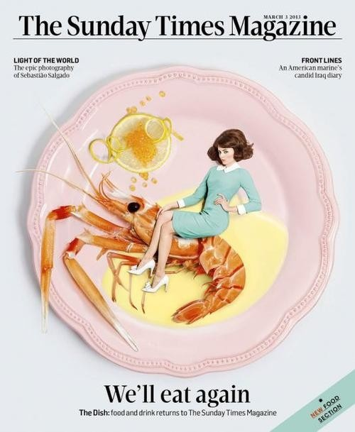 Great art direction from last weeks cover of The Sunday Times Magazine by Alyson Waller...also this is why I never eat prawns