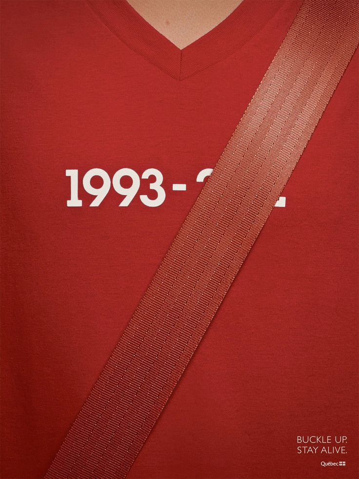 Print ad advocating seatbelt use - Agency is Lg2, Client is Government of Quebec.