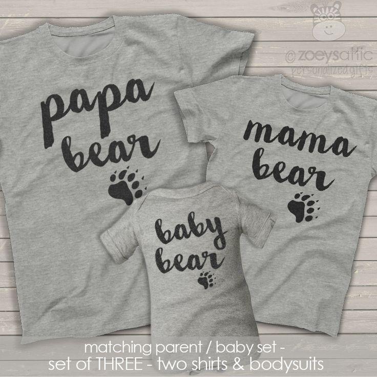 zoey's attic personalized gifts - Papa mama baby bear matching THREE shirt gift set, $50.00 (http://www.zoeyspersonalizedgifts.com/products/papa-mama-baby-bear-matching-three-shirt-gift-set.html)