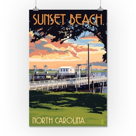 Calabash, North Carolina - Sunset Beach - Swinging Bridge - Lantern Press Artwork (24x36 Giclee Gallery Print, Wall Decor Travel Poster)